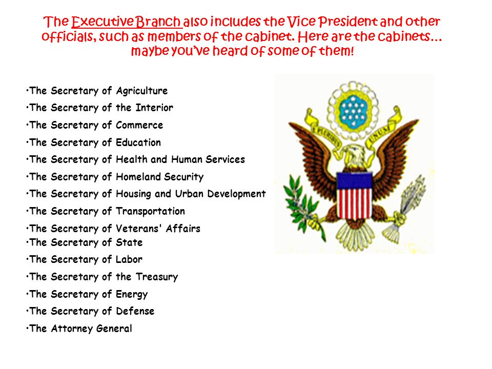 The Executive Branch also includes the Vice President and other officials, such as members of the cabinet. Here are the cabinets… maybe you've heard of some of them!