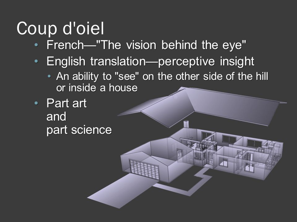 Coup d oiel French— The vision behind the eye