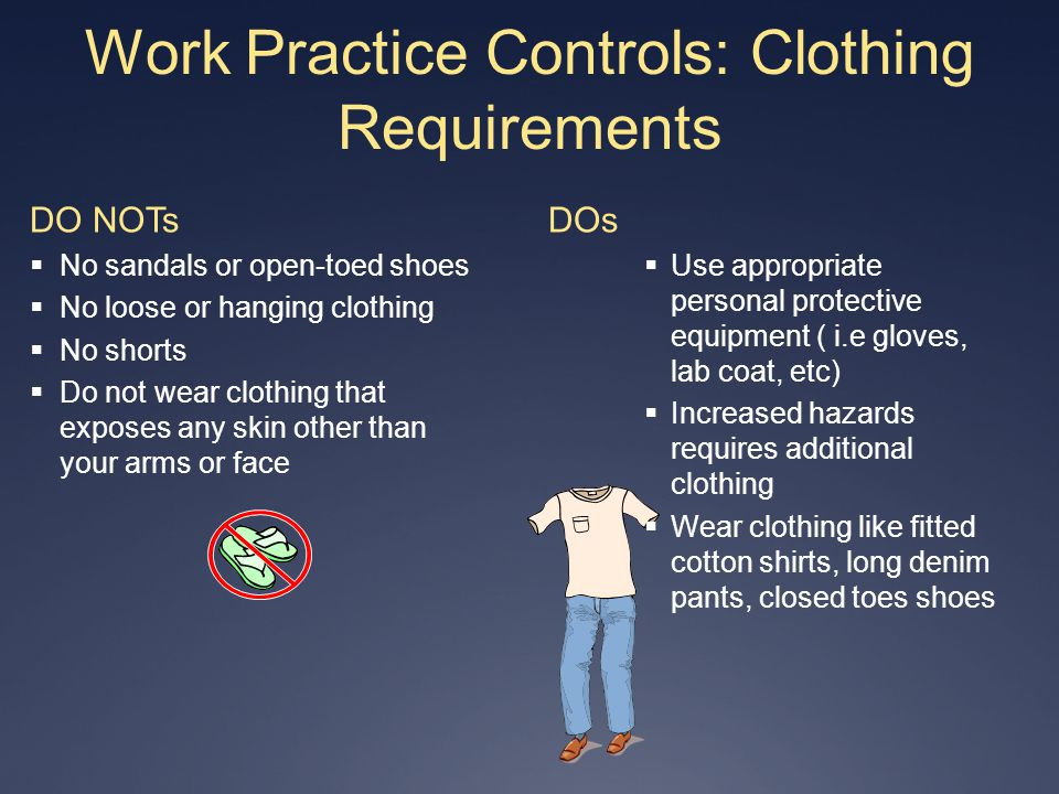 Work Practice Controls: Clothing Requirements