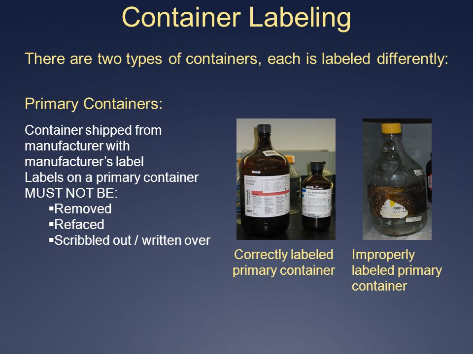 Container Labeling There are two types of containers, each is labeled differently: Primary Containers: