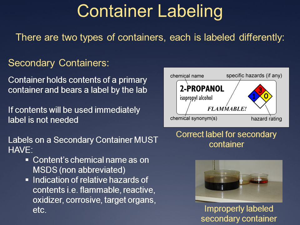 Container Labeling There are two types of containers, each is labeled differently: Secondary Containers: