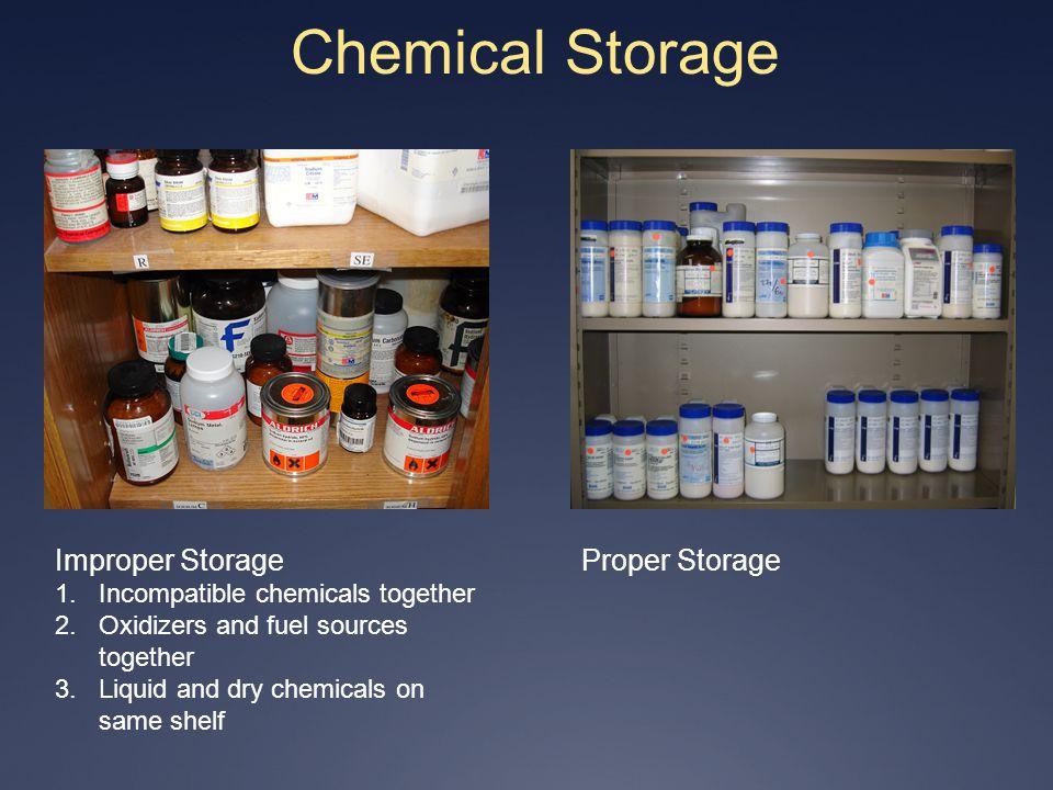 Chemical Storage Improper Storage Proper Storage