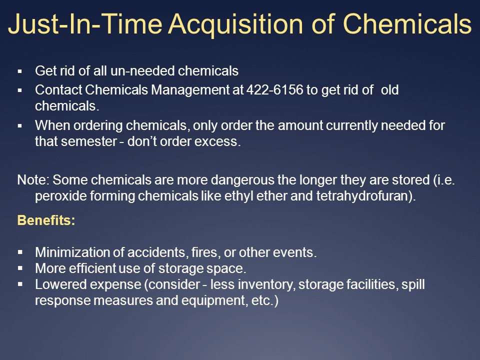 Just-In-Time Acquisition of Chemicals