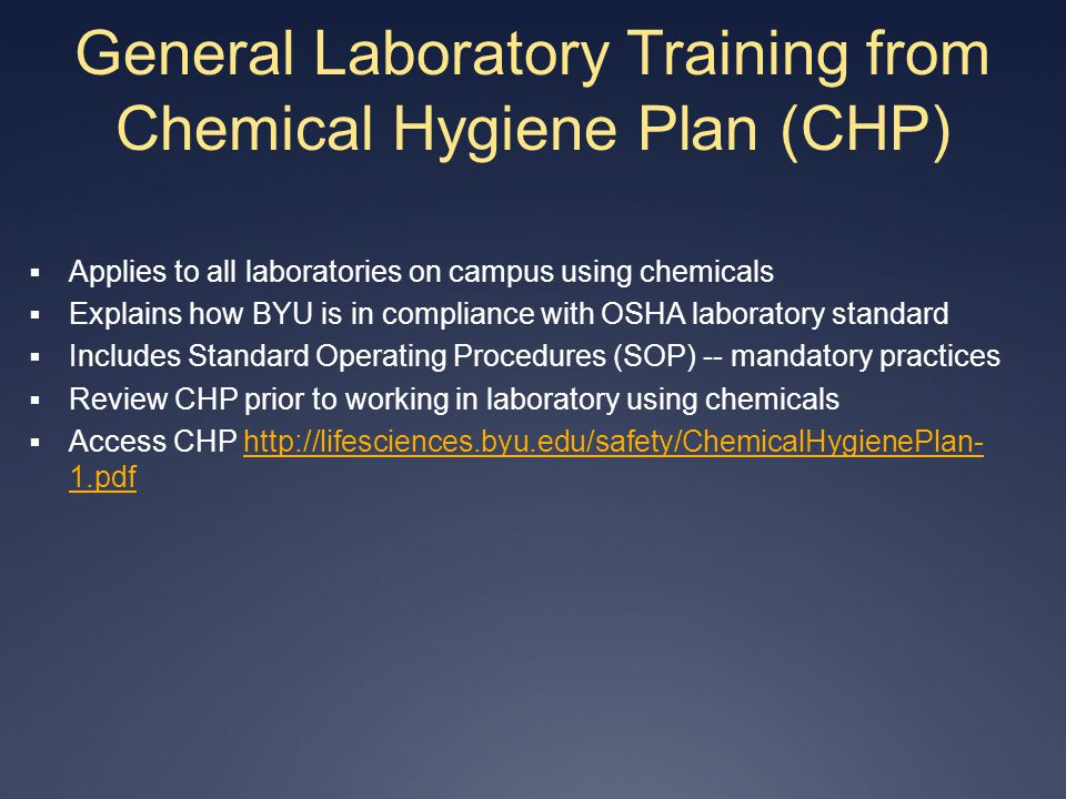General Laboratory Training from Chemical Hygiene Plan (CHP)