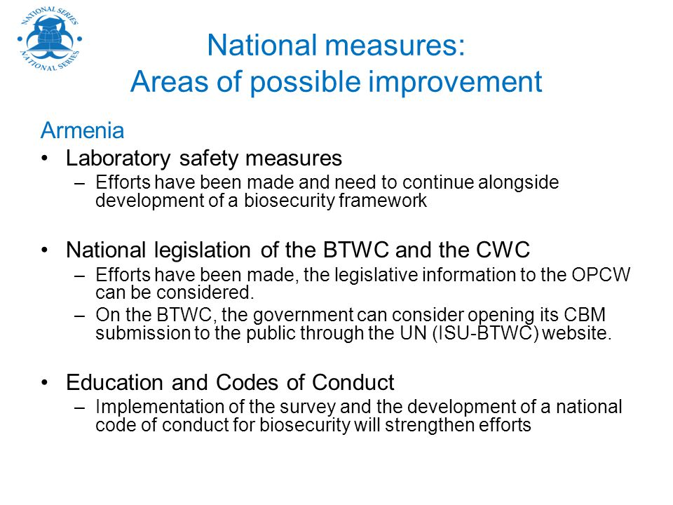 National measures: Areas of possible improvement