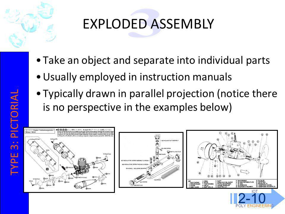 IOT POLY ENGINEERING 2-10. EXPLODED ASSEMBLY. 3. Take an object and separate into individual parts.
