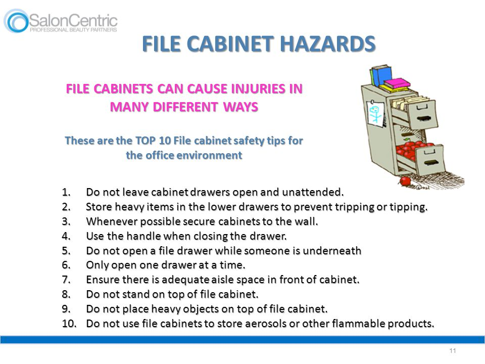FILE CABINETS CAN CAUSE INJURIES IN MANY DIFFERENT WAYS