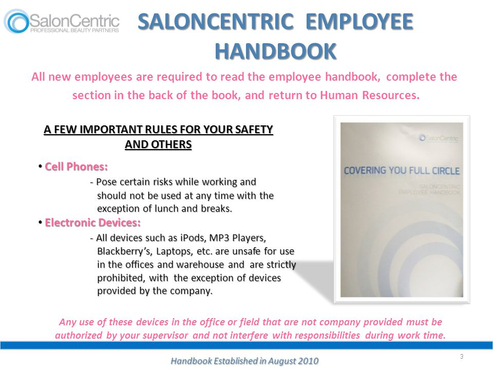 SALONCENTRIC EMPLOYEE HANDBOOK
