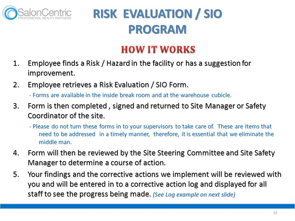 RISK EVALUATION / SIO PROGRAM