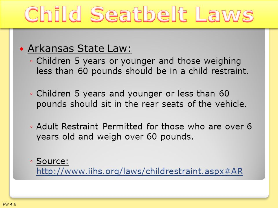 Child Seatbelt Laws Arkansas State Law: