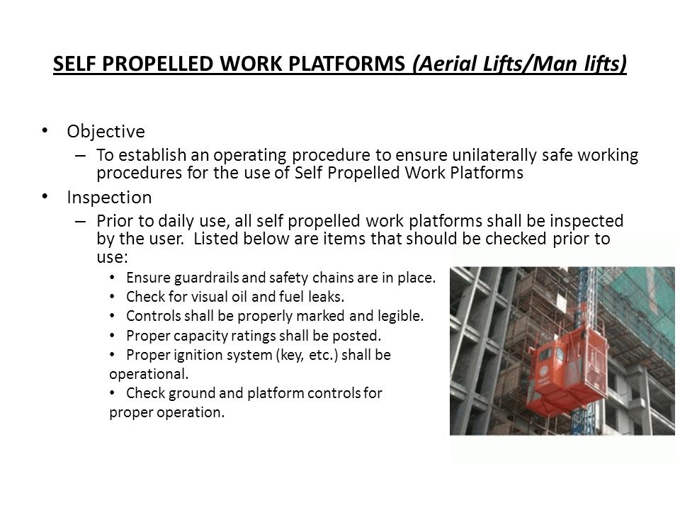 SELF PROPELLED WORK PLATFORMS (Aerial Lifts/Man lifts)