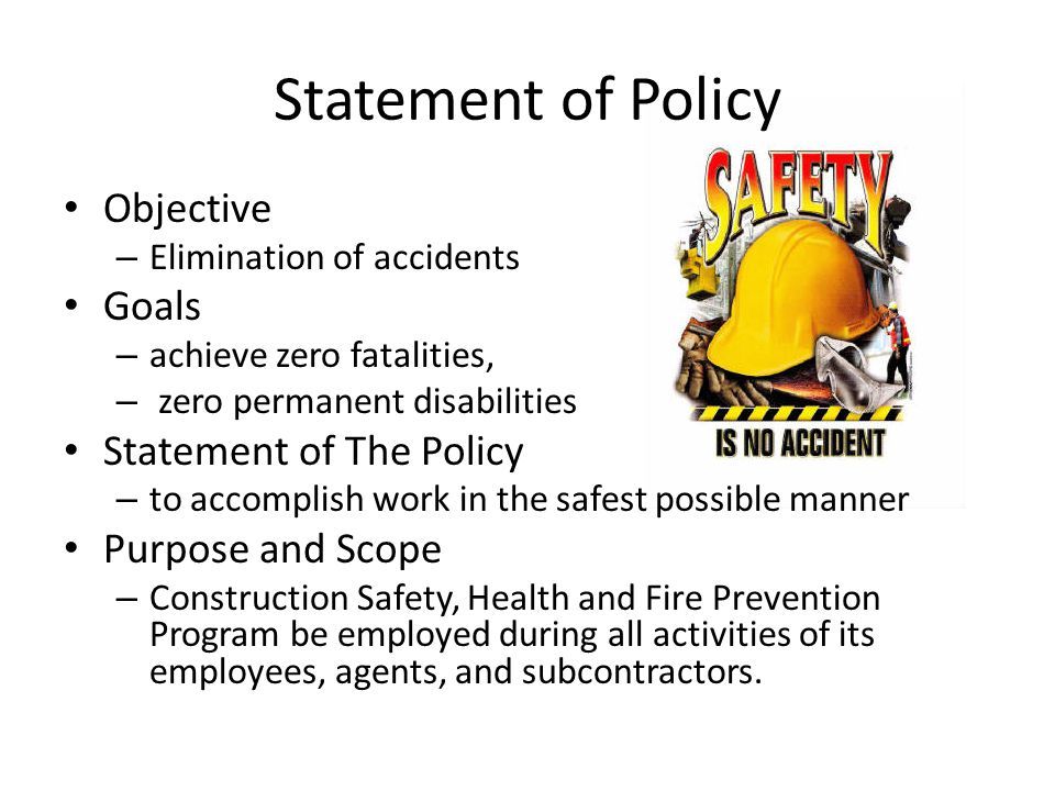Statement of Policy Objective Goals Statement of The Policy