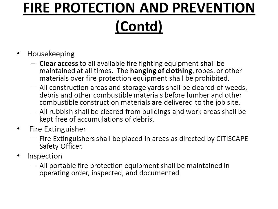FIRE PROTECTION AND PREVENTION (Contd)