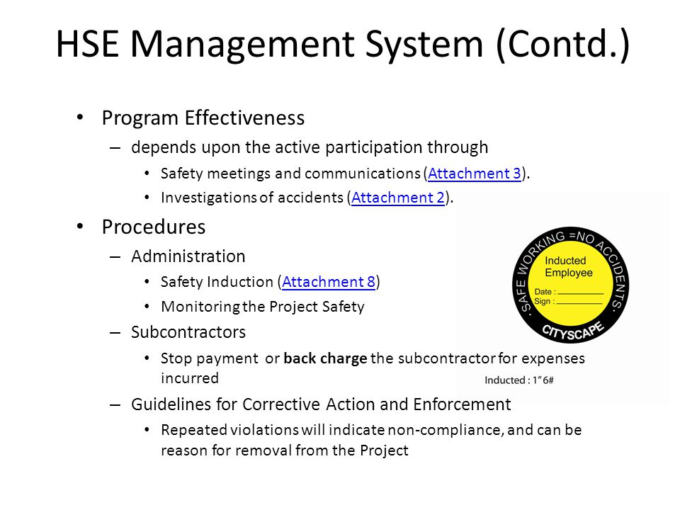 HSE Management System (Contd.)