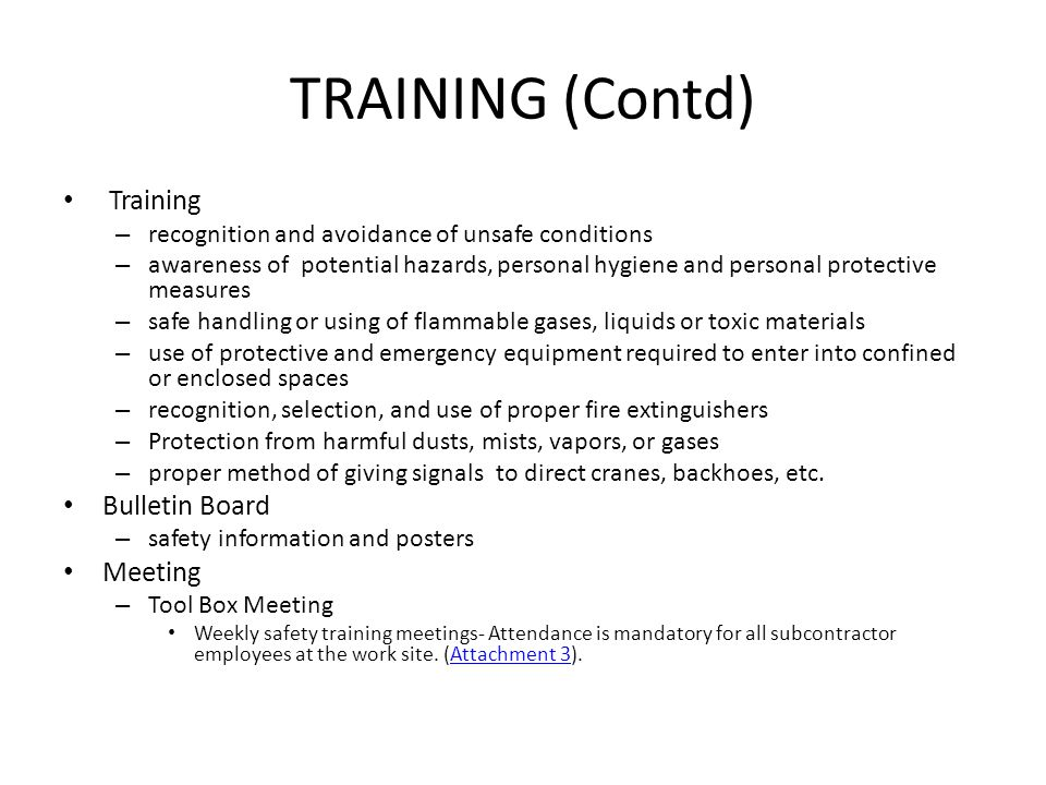 TRAINING (Contd) Training Bulletin Board Meeting