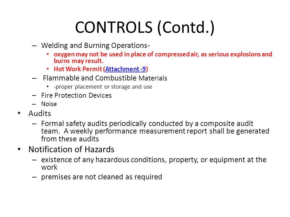 CONTROLS (Contd.) Notification of Hazards Audits