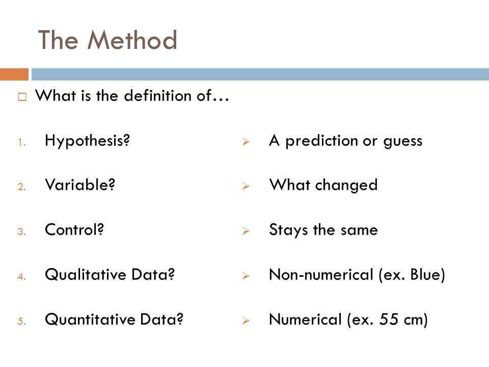 The Method What is the definition of… Hypothesis Variable Control