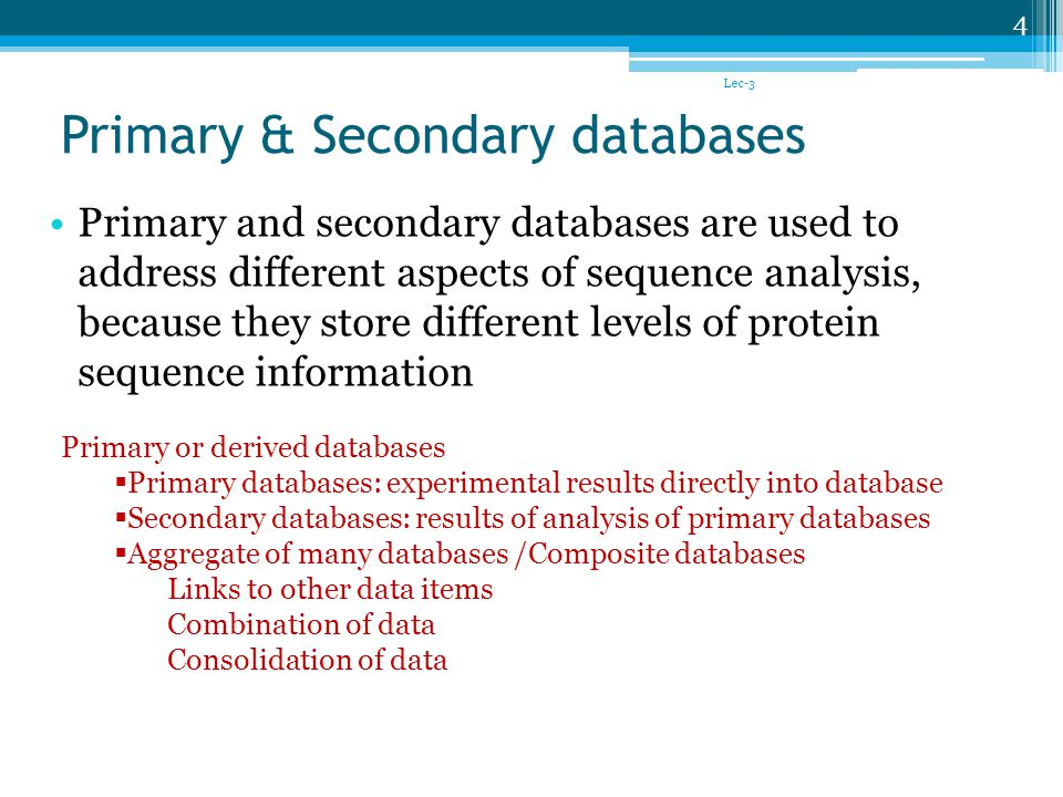Primary & Secondary databases