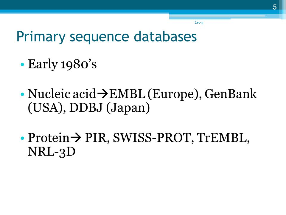 Primary sequence databases