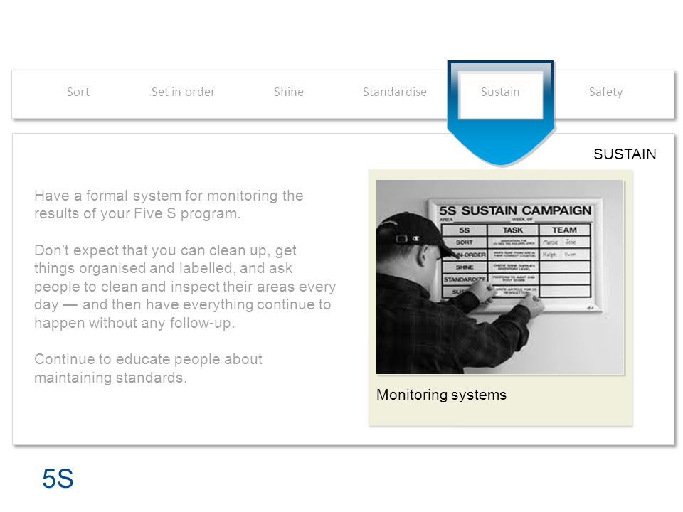 Sort Set in order. Shine. Standardise. Sustain. Safety. SUSTAIN. Monitoring systems.