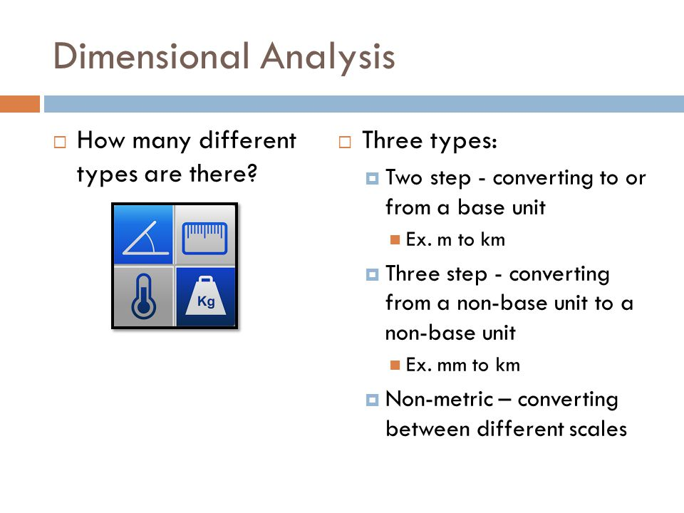 Dimensional Analysis How many different types are there Three types: