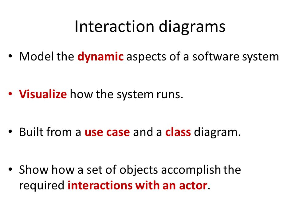 Interaction diagrams Model the dynamic aspects of a software system