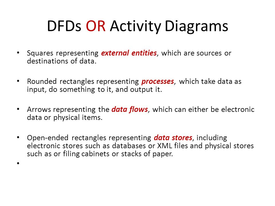 DFDs OR Activity Diagrams