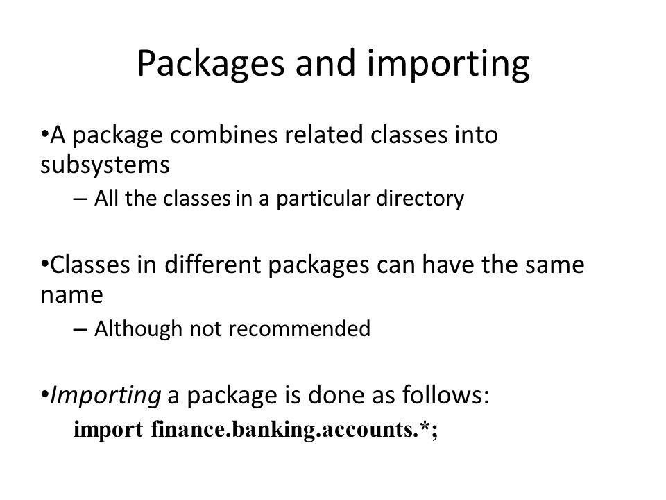Packages and importing