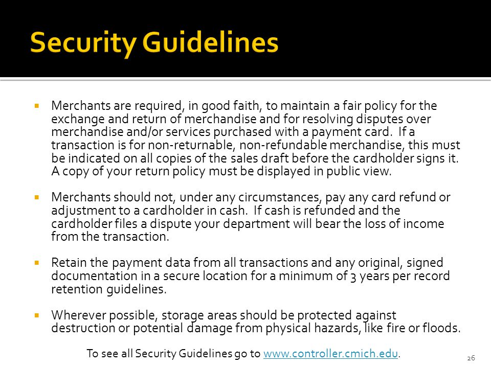 To see all Security Guidelines go to