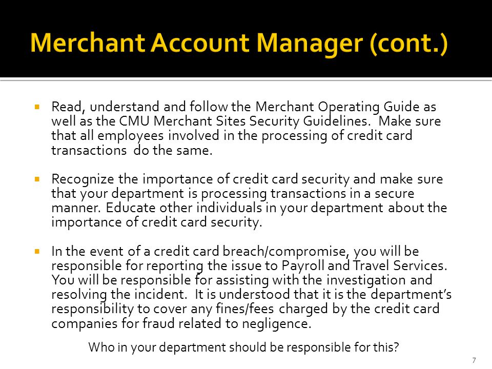 Merchant Account Manager