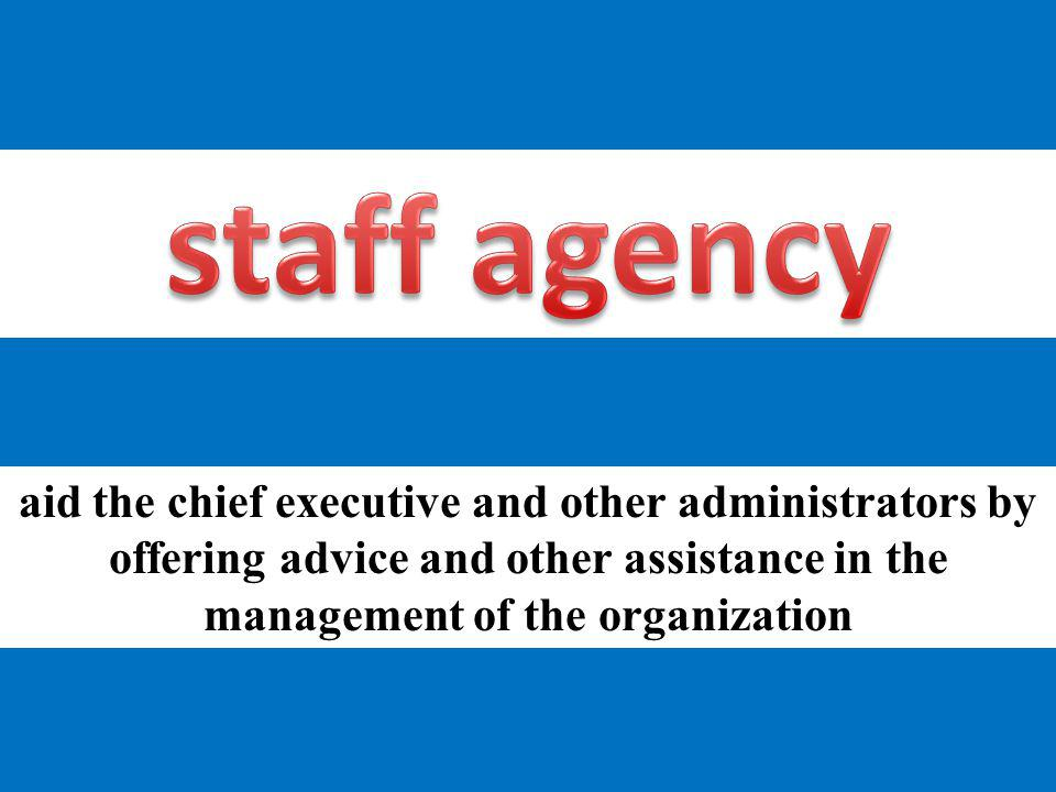 staff agency aid the chief executive and other administrators by offering advice and other assistance in the management of the organization.