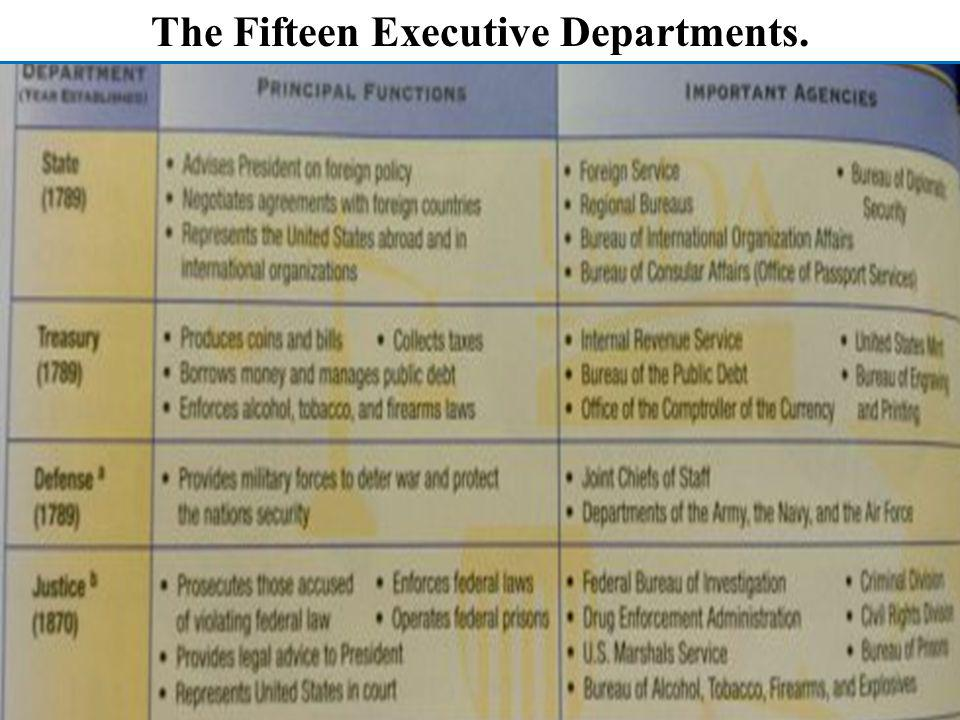 The Fifteen Executive Departments.