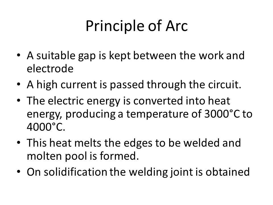 Principle of Arc A suitable gap is kept between the work and electrode