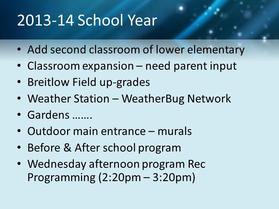 2013-14 School Year Add second classroom of lower elementary