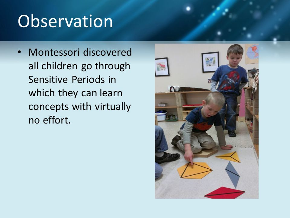 Observation Montessori discovered all children go through Sensitive Periods in which they can learn concepts with virtually no effort.
