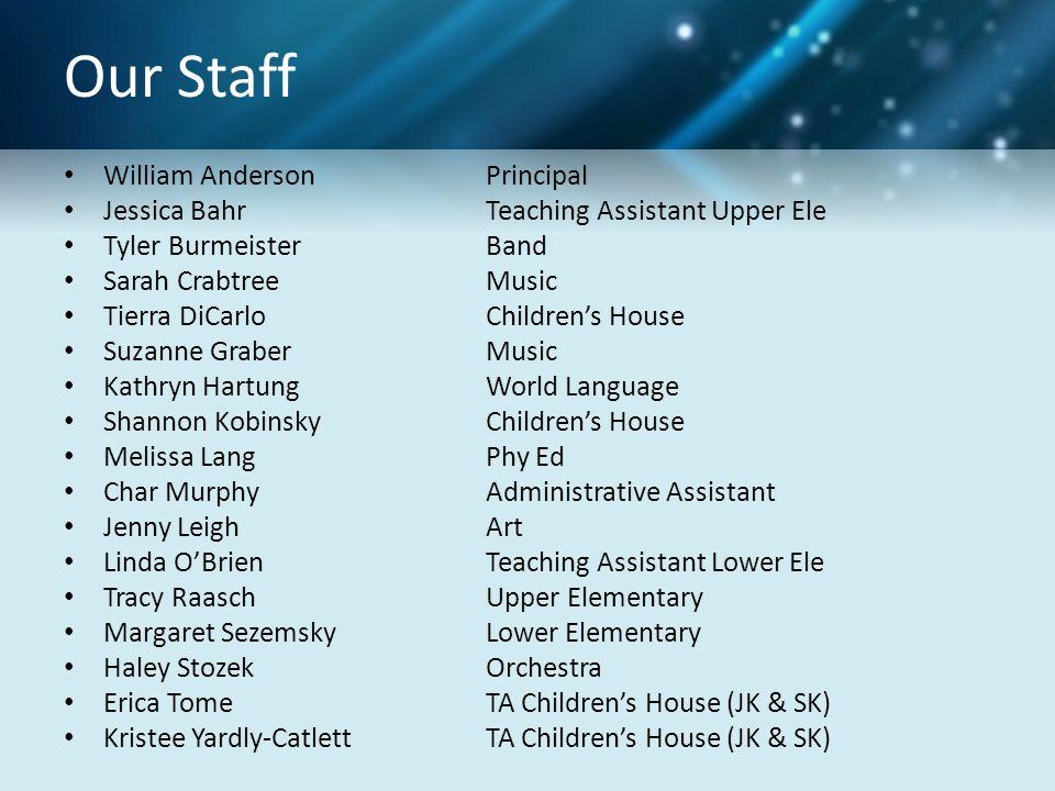 Our Staff William Anderson Principal