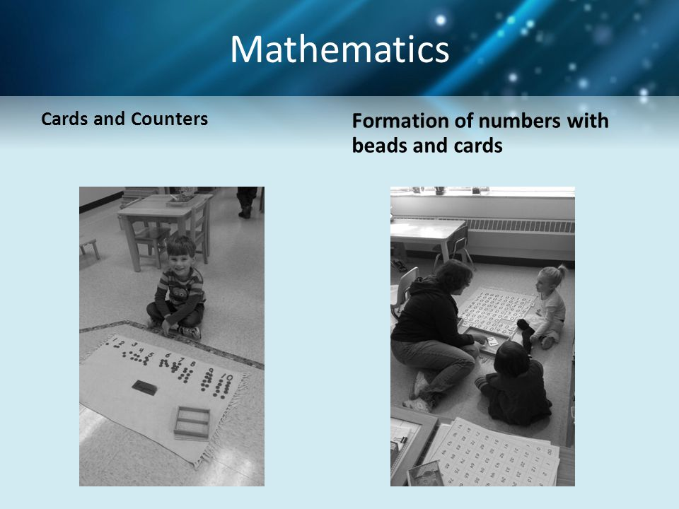 Mathematics Formation of numbers with beads and cards