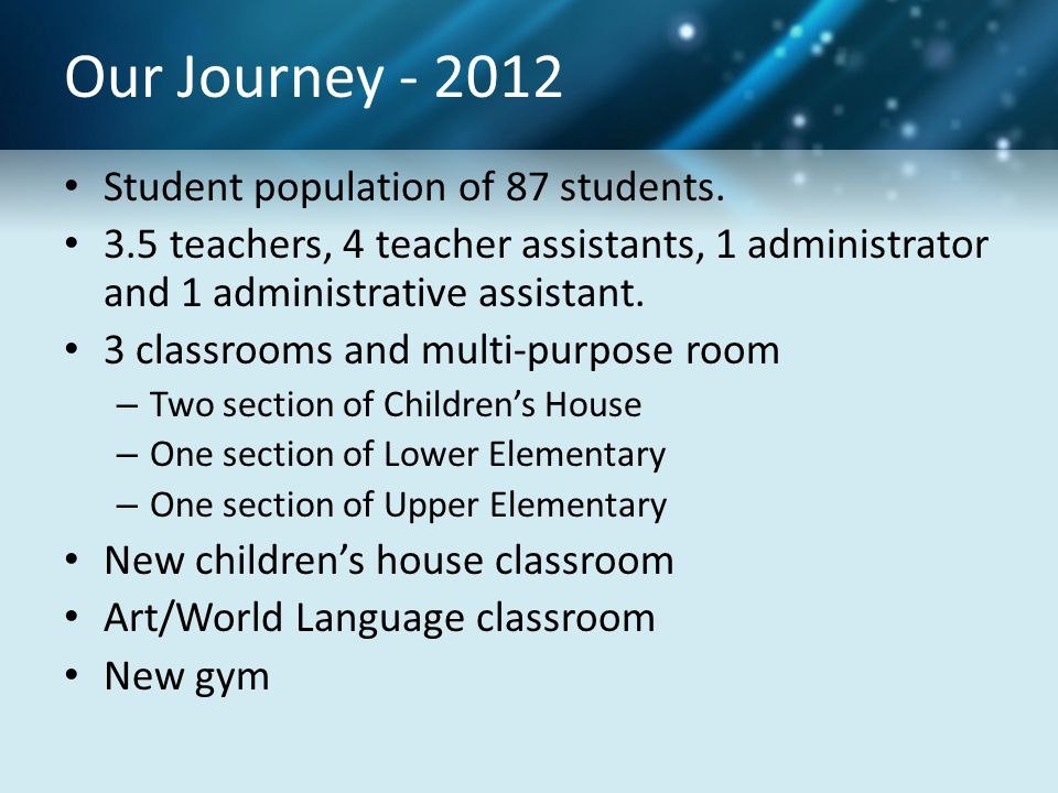 Our Journey - 2012 Student population of 87 students.