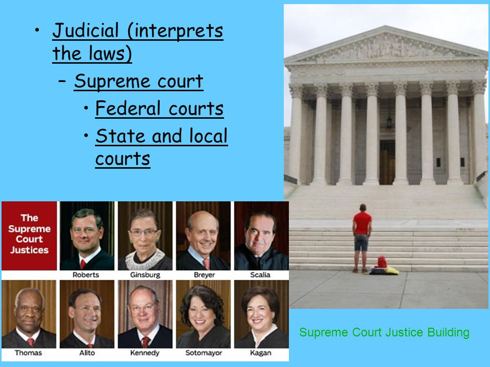 Judicial (interprets the laws) Supreme court Federal courts