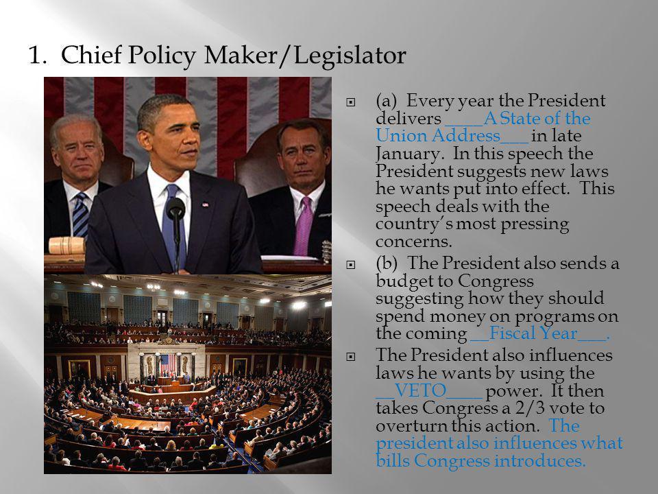 1. Chief Policy Maker/Legislator