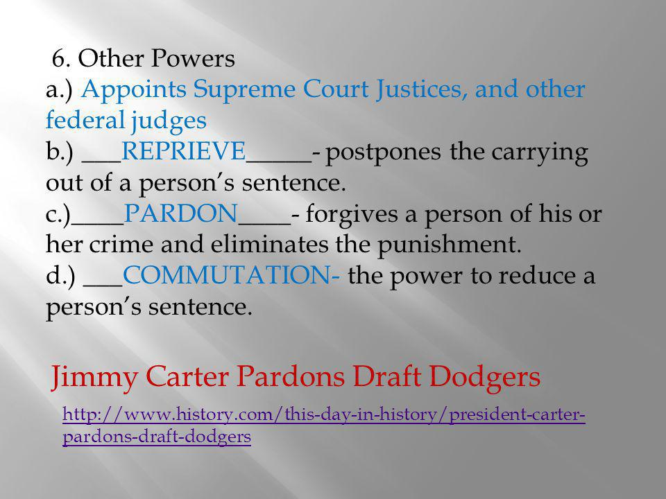 Jimmy Carter Pardons Draft Dodgers