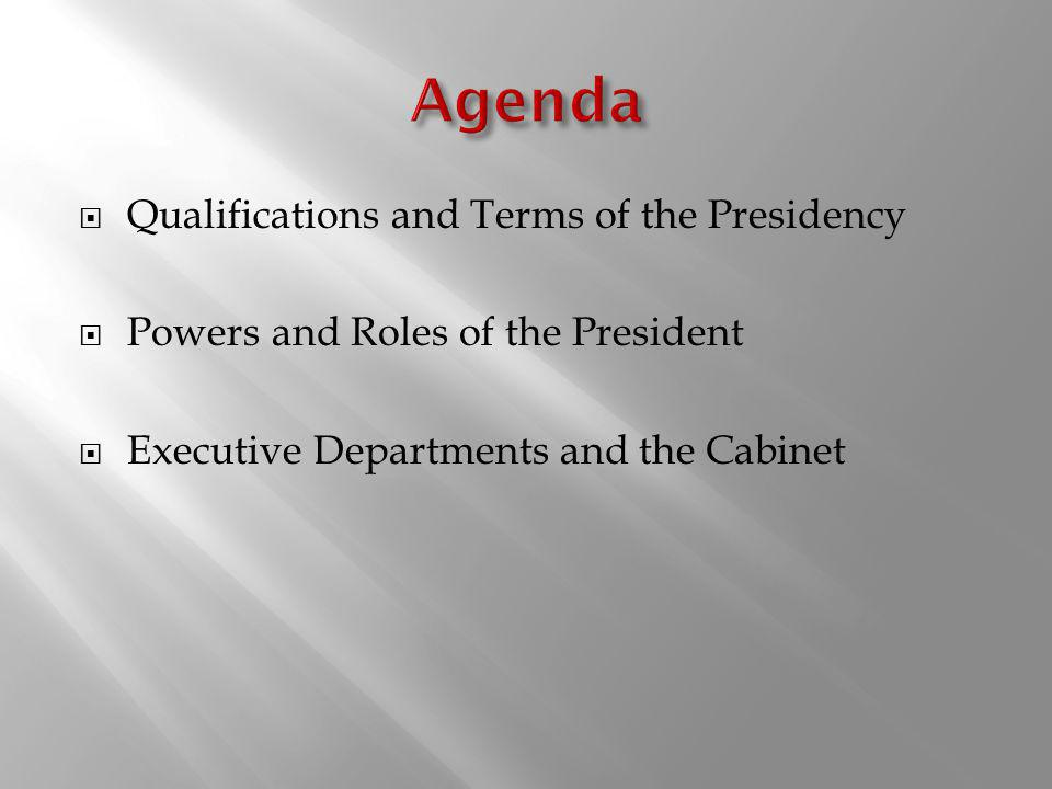 Agenda Qualifications and Terms of the Presidency