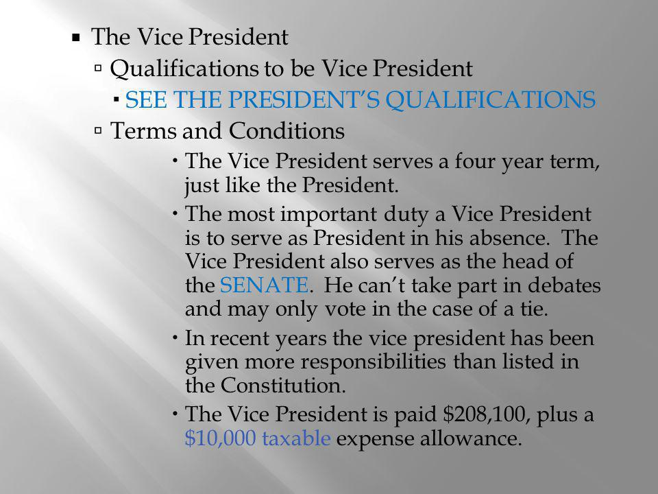 Qualifications to be Vice President SEE THE PRESIDENT'S QUALIFICATIONS