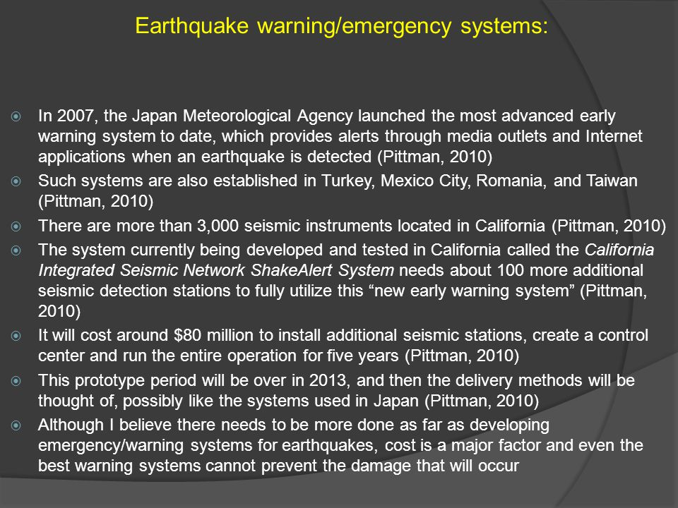 Earthquake warning/emergency systems: