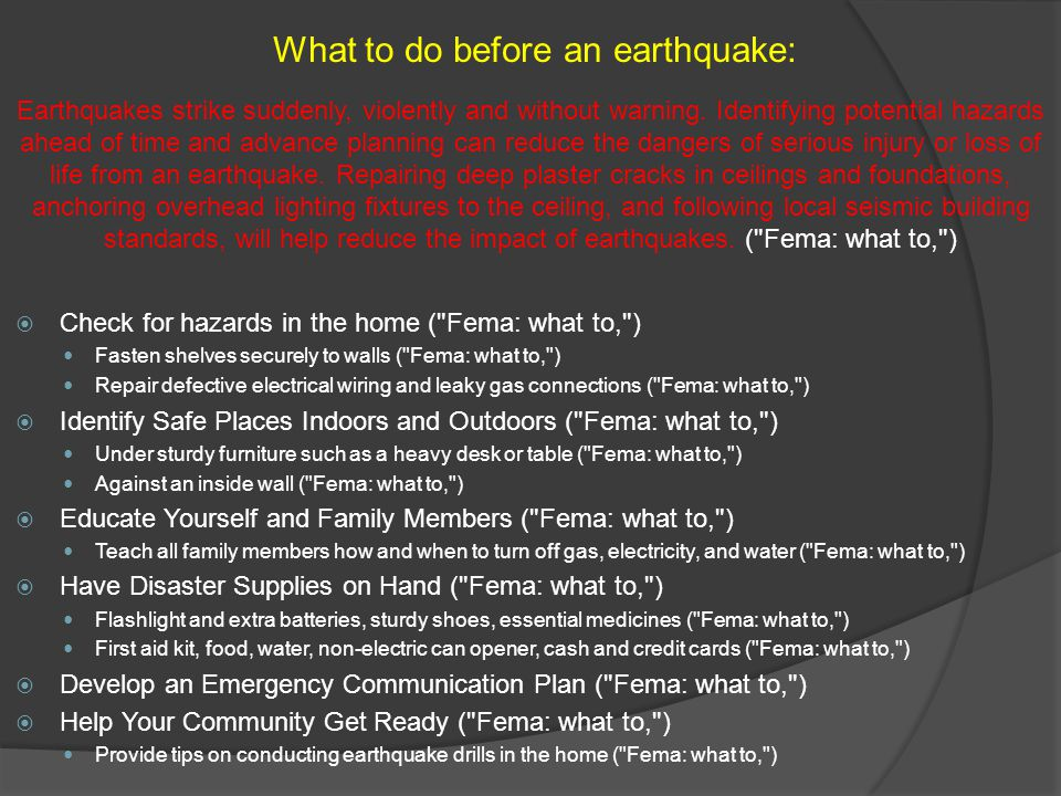 What to do before an earthquake: