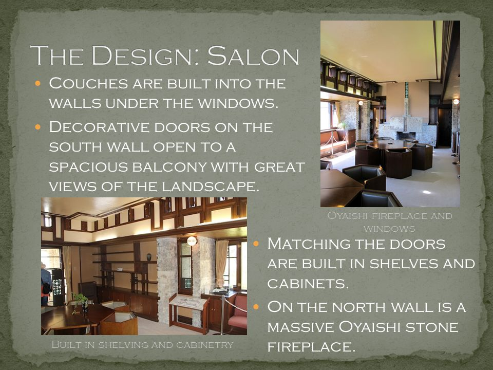 The Design: Salon Couches are built into the walls under the windows.