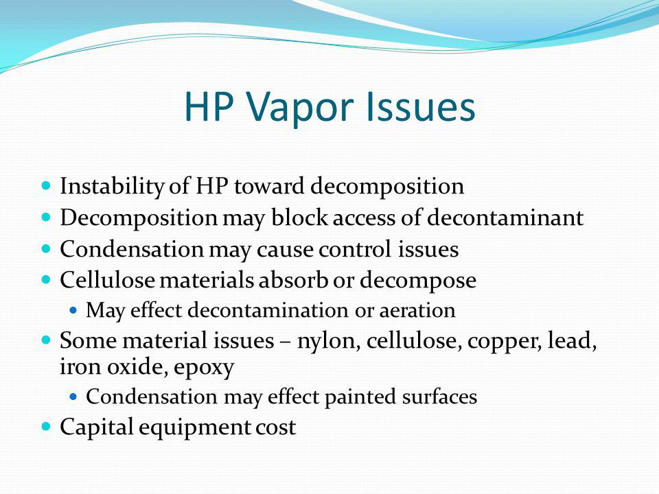 HP Vapor Issues Instability of HP toward decomposition