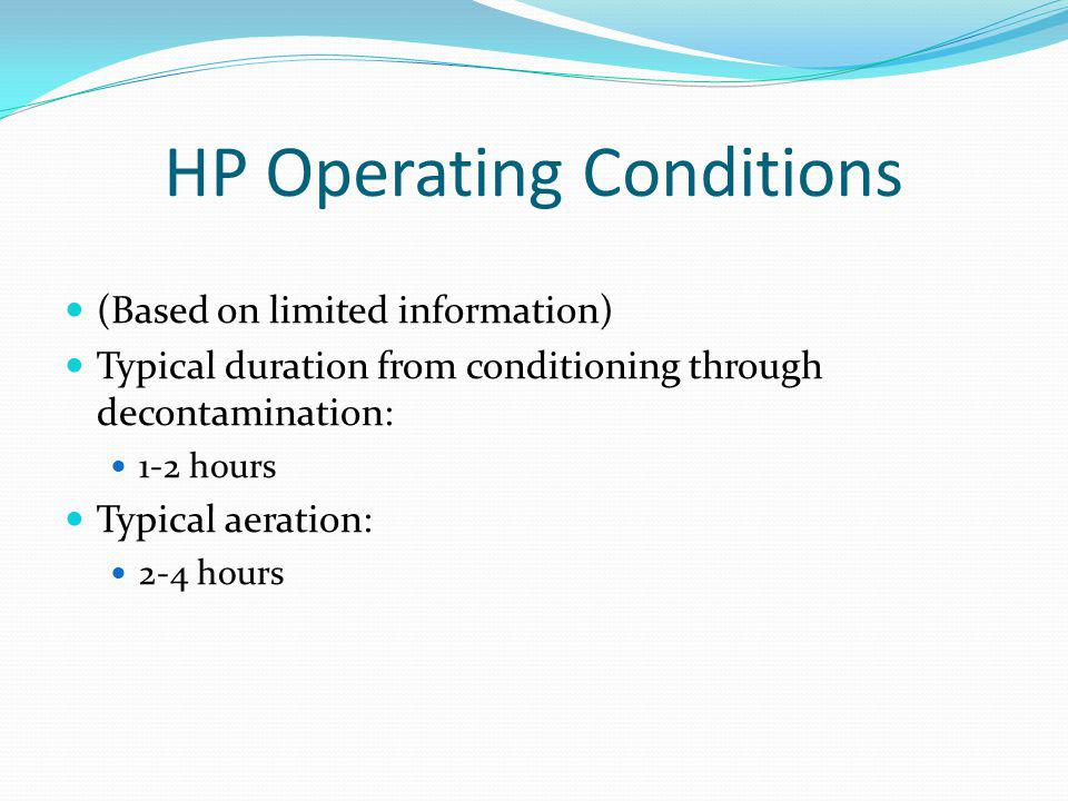 HP Operating Conditions