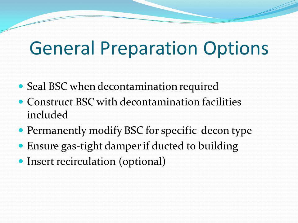 General Preparation Options