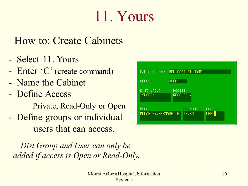 11. Yours How to: Create Cabinets - Select 11. Yours